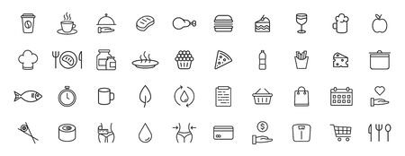 Set of 40 Food and Drink web icons in line style. Coffe, water, eat, restaurant, fastfood. Vector illustration
