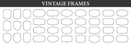 Big set of vintage Ornamental frames. Vintage labels. Sticker. Retro badge elements. Vector illustration