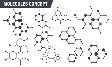 Set of molecule badge. Connected hexagonal molecule badge. Molecular structure. DNA connect diagram. Medical label or icons. Vector illustration