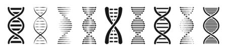 Set of DNA or Chromosome icons set. Vector illustration