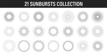 Sunburst set. Big collection sunburst best quality. Star, firework explosion, emblem, tag. Web banner Vector Illustration