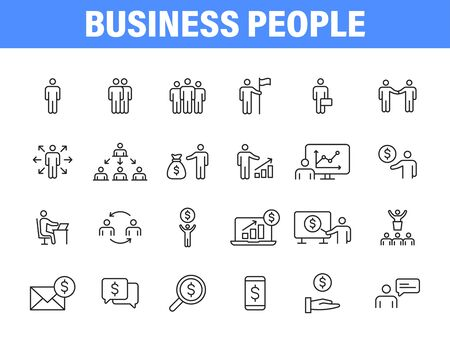 Set of 24 Business people and teamwork web icons in line style. Business, teamwork, leadership, manager. Vector illustration Vettoriali