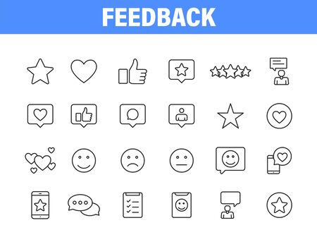 Set of 24 Feedback and Review icons in line style. Star Rating, Emotion symbols. Vector illustration Vettoriali