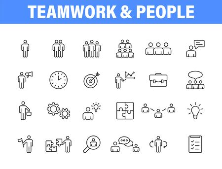 Set of 24 Teamwork icons in line style. Team Work, people, support, business. Vector illustration