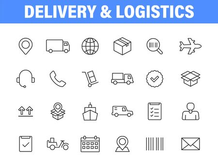 Set of 24 Delivery and logistics icons in line style. Courier, shipping, express delivery, tracking order, support, business. Vector illustration Vettoriali