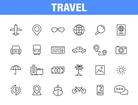 Set of 24 Travel and Holiday web icons in line style. Transport, Luggage, food, navigation, holiday. Vector illustration Vettoriali