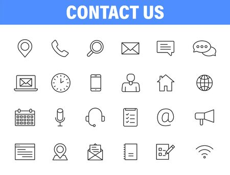 Set of 24 Contact Us icons in line style. Web and mobile icon. Chat, support, message, phone. Vector illustration Vettoriali
