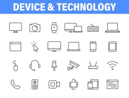 Set of 24 Electronics and Devices web icons in line style. Device, phone, laptop, communication, smartphone, ecommerce. Vector illustration