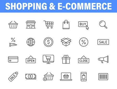 Set of 24 E-commerce and shopping web icons in line style. Mobile Shop, Digital marketing, Bank Card, Gifts. Vector illustration Vettoriali