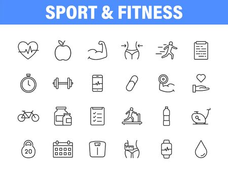 Set of 24 Sport and Fitness, healthy food web icons in line style. Soccer, nutrition, workout, teamwork. Vector illustration