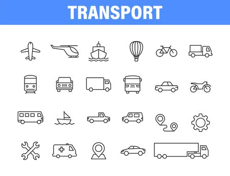 Set of 24 Transport web icons in line style. Airplane, bus, parking, travel, train, comfortable. Vector illustration