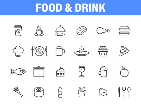 Set of 24 Food and Drink web icons in line style. Coffe, water, eat, restaurant, fastfood. Vector illustration Vettoriali