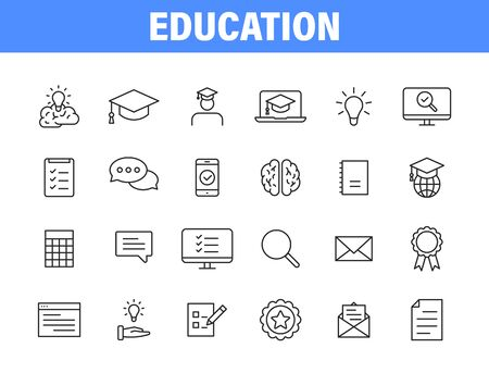 Set of 24 Education and Learning web icons in line style. School, university, textbook, learning. Vector illustration