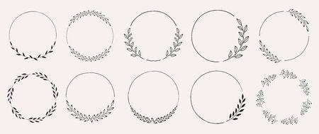 Set of black laurels frames branches. Vintage laurel wreaths collection. Hand drawn vector laurel leaves decorative elements. Leaves, swirls, ornate, award, icon. Vector illustration