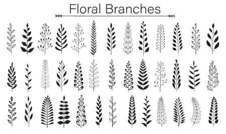 Set of black laurels branches. Flower ornament dividers collection. Vintage laurel wreaths. Hand drawn vector laurel leaves decorative elements. Leaves, swirls, award, icon. Vector illustration