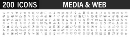 Set of 200 Media and Web icons in line style. Data analytics, Digital marketing, Management, Message, Phone. Vector illustration