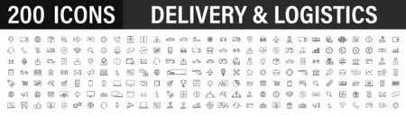 Set of 200 Delivery and logistics icons in line style. Courier, shipping, express delivery, tracking order, support, business. Vector illustration
