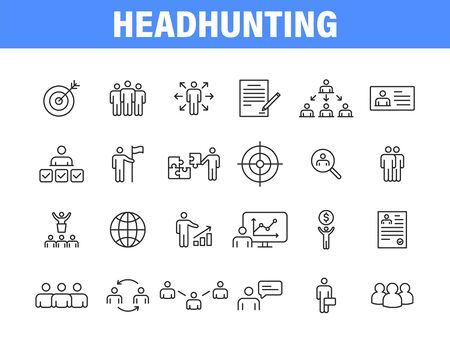 Set of 24 Headhunting web icons in line style. Skills, work, professional, employment, management, teamwork Vector illustration