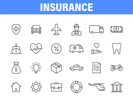 Set of 24 Insurance web icons in line style. Business, health, policy, tornado, flood, help Vector illustration
