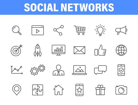 Set of 24 Social Networks web icons in line style. Marketing, feedback, management, target, like, content. Vector illustration Stock Illustratie