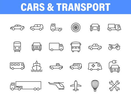 Set of 24 Cars and transport web icons in line style. Airplane, bus, parking, travel, train, comfortable. Vector illustration