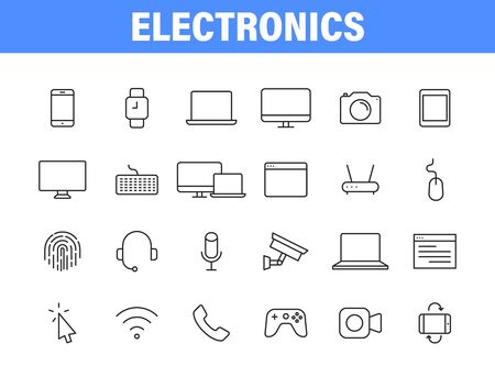 Set of 24 Electronics web icons in line style. Device, phone, laptop, communication, smartphone, ecommerce Vector illustration