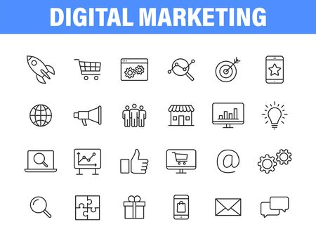 Set of 24 Digital Marketing web icons in line style. Social, networks, feedback, communication, marketing, ecommerce. Vector illustration