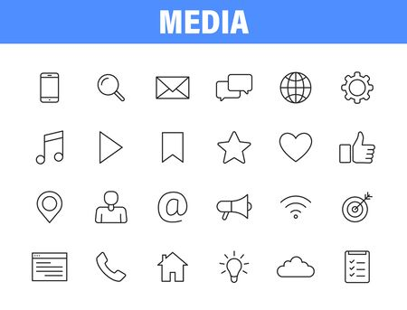 Set of 24 Media and Web icons in line style. Data analytics, Digital marketing, Management, Message, Phone. Vector illustration