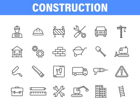 Set of 24 Construction web icons in line style. Building, engineer, business, road, builder, industry Vector illustration