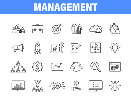 Set of 24 Management web icons in line style. Media, teamwork, business, planning, strategy, marketing Vector illustration