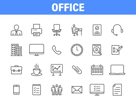 Set of 24 Office and workplace web icons in line style. Teamwork, workplace, coffee, work, business, employee. Vector illustration