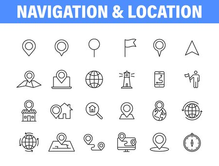 Set of 24 Navigation and location, map, globe web icons in line style. GPS, compass, global, marker, map, pointer Vector illustration Vettoriali