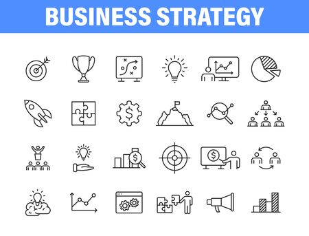 Set of 24 Business strategy web icons in line style. Startup, investment, financial, development, marketing, idea. Vector illustration