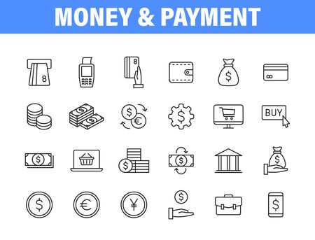 Set of 24 Payment and Money and Payment web icons in line style. Business, investment, financial, banking ,dollar, bank, cash, coin exchange, pay. Vector illustration