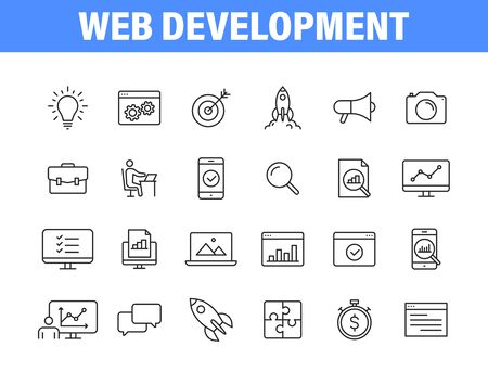 Set of 24 Web development web icons in line style. Marketing, analytics, e-commerce, digital, management, seo. Vector illustration Vettoriali