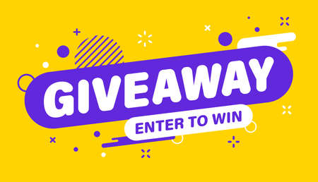 Giveaway banner. Post template. Win a prize giveaway. Social media poster. Vector design illustration Vettoriali