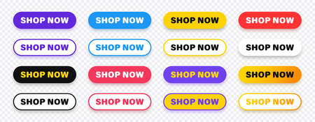 Shop now. Set of button shop now or buy now. Modern collection for web site. Vector illustration