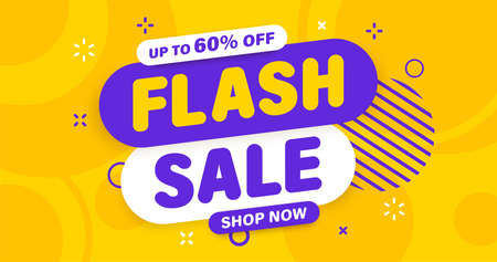 Flash Sale banner, special offer and sale. Shop now or this weekend only. Up to 50 or 60 or 70 off. Discount, mega sale. Vector illustration