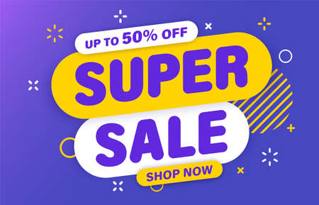 Super Sale banner, special offer and sale. Shop now or this weekend only. Up to 50 or 60 or 70 off. Discount, mega sale. Vector illustration