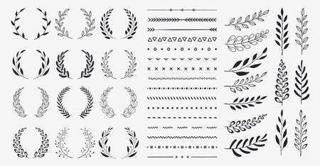 Set of black circular foliate laurels branches. Vintage laurel wreaths collection. Hand drawn vector laurel leaves decorative elements. Leaves, swirls, ornate, award, icon. Vector illustration