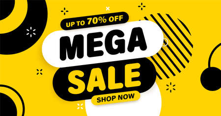 Mega Sale banner, special offer and sale. Shop now or this weekend only. Up to 50 or 60 or 70 off. Discount, mega sale. Vector illustration