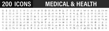 Set of 40 Medical and Health web icons in line style. Medicine and Health Care, RX, infographic. Vector illustration Vettoriali