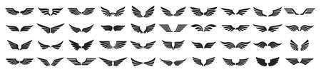 Set of black wings icons. Wings badges. Collection wings badges. Vector illustration