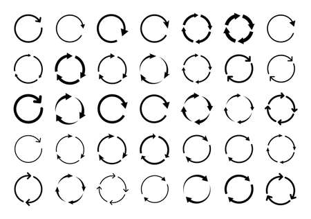 Set of circle arrows. Vector elements. Black loading symbol