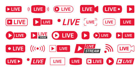 Big set of Live and streaming icons. Logo buttons of Live. Online. Vector illustration