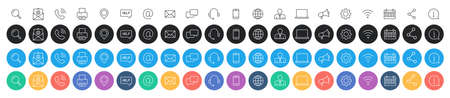 Set of 80 Business Card icons. Name, phone, mobile, location, place, mail, fax web Contact us information communication Vector illustration