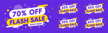 Sale banner, special offer and sale. Shop now or this weekend only. Up to 50 or 60 or 70 off. Discount, promotion, web banner, mega sale. Vector illustration