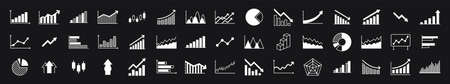 Business graphs and charts icons. Business infographics icons. Statistic and data, charts diagrams, money, down or up arrow, economy reduction. Financial chart. Vector illustration