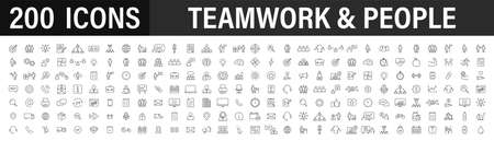 Set of 200 Teamwork web icons in line style. Team Work, people, support, business. Vector illustration