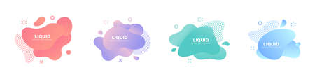 Abstract liquid shape. Set of modern graphic elements. Fluid dynamical colored forms banner. Gradient abstract liquid shapes. Vector illustration Ilustrace